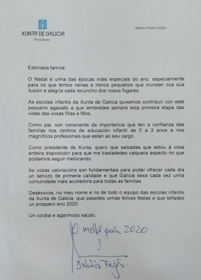 Carta do presidente ás familias das Galiu00f1as Azuis